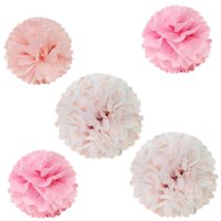 """Wrapables 12"""" & 8"""" Set of 5 Tissue Pom Poms Party Decorations for Weddings, Birthday Parties Baby Showers and Nursery Décor, Pink & Polka Dots"""