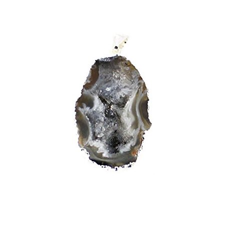 Rock Paradise Beautiful Natural Agate Slice Druzy Pendant with Gold Plated Edge (Druzy Geode Agate Pendant)