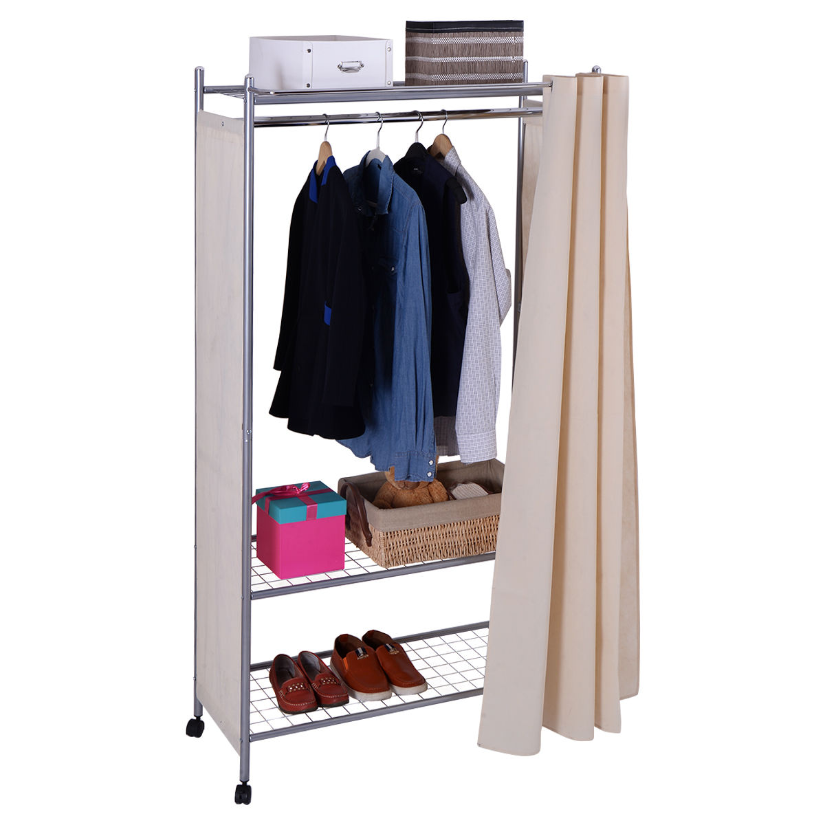 Costway 68'' Portable Closet Storage Organizer Clothes Wardrobe Shoe Rack Shelves W/Wheel