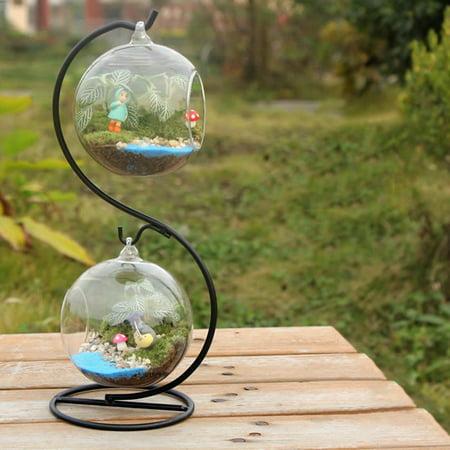 2Pcs Mini Transparent Glass Vase Hanging Micro Landscape Ecological Bottle Handicraft Decoration (not Include Plants)