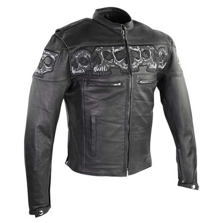 Reflective Skull Premium Cowhide Leather Motorcycle Jacket by Vance -