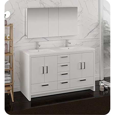 60 glossy white free standing double sink bathroom vanity - Freestanding double bathroom vanity ...