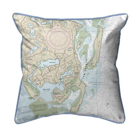 Betsy Drake HJ13248 18 x 18 in. Chatham Harbor, MA Nautical Map Large Corded Indoor & Outdoor Pillow - image 1 of 1
