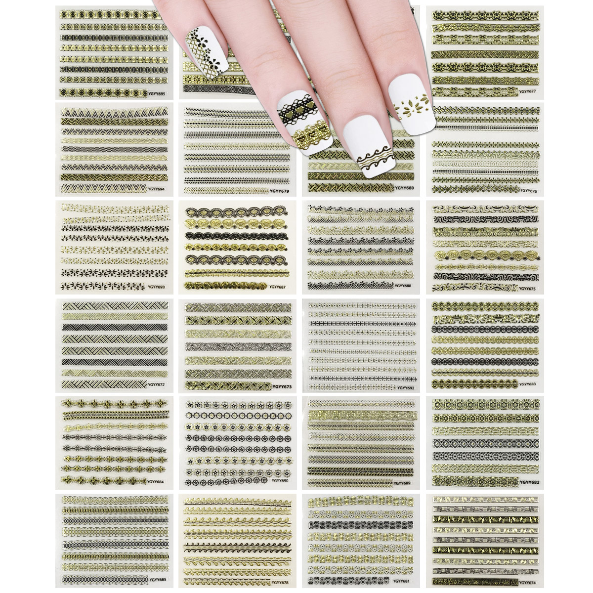 ALLYDREW 24 Sheets Gold, Silver & Black Nail Strips Nail Stickers Nail Art Set - Gold & Black Nail Strips