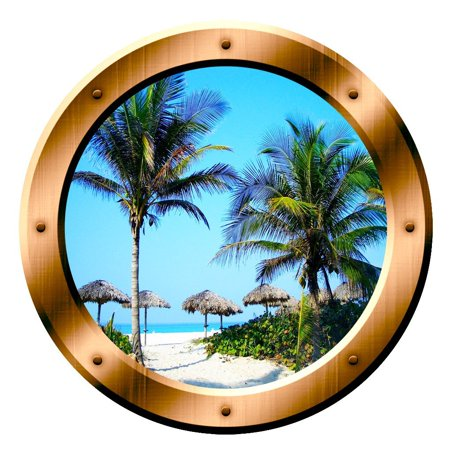 Palm Tree Scene (VWAQ Beach Scene Wall Decal Porthole Palm Trees Window Sticker Wall Art Peel And Stick Decor VWAQ-BP14 (14