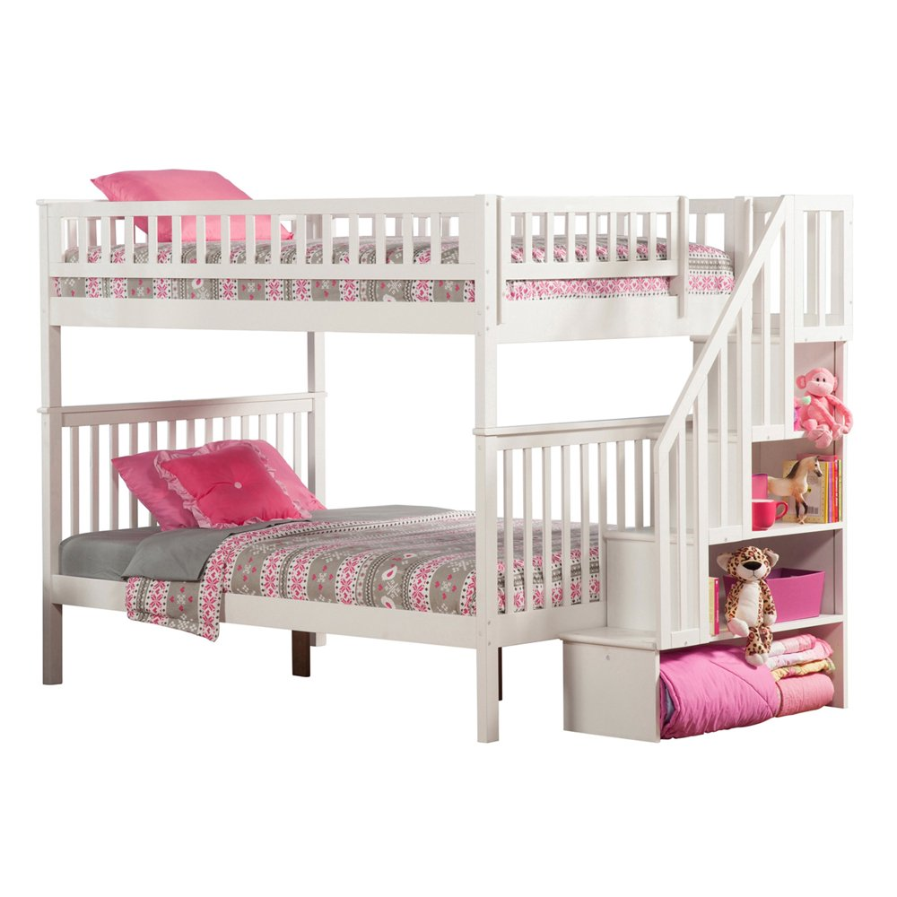 Woodland Staircase Bunk Bed Full over Full in Multiple Colors and Configurations