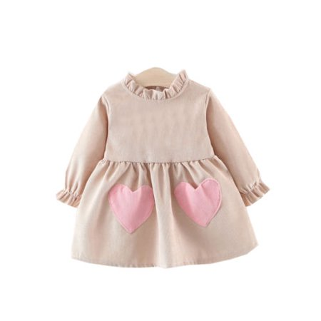Baby Girls Clothing Long Sleeve Midi Tutu Dress Princess Party Dress wtih Heart-Shaped