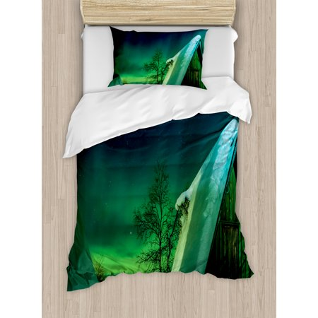 Northern Lights Twin Size Duvet Cover Set  Wooden Roof House Winter Icy Arctic View Cold Climates Air Image  Decorative 2 Piece Bedding Set With 1 Pillow Sham  Dark Blue Jade Green  By Ambesonne