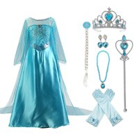 Snow Queen Elsa Princess Party Dress Little Girls Halloween Cosplay Costume with Accessories