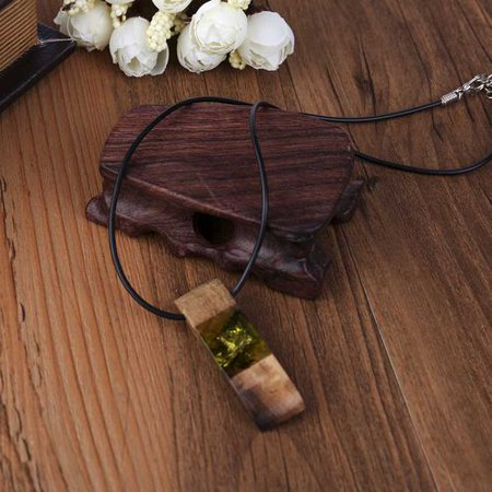 KABOER 1pc Women Men Necklace Handmade Vintage Resin Wood Statement Necklaces Long Rope Wooden Pendants Necklace Jewelry Birthday Gifts