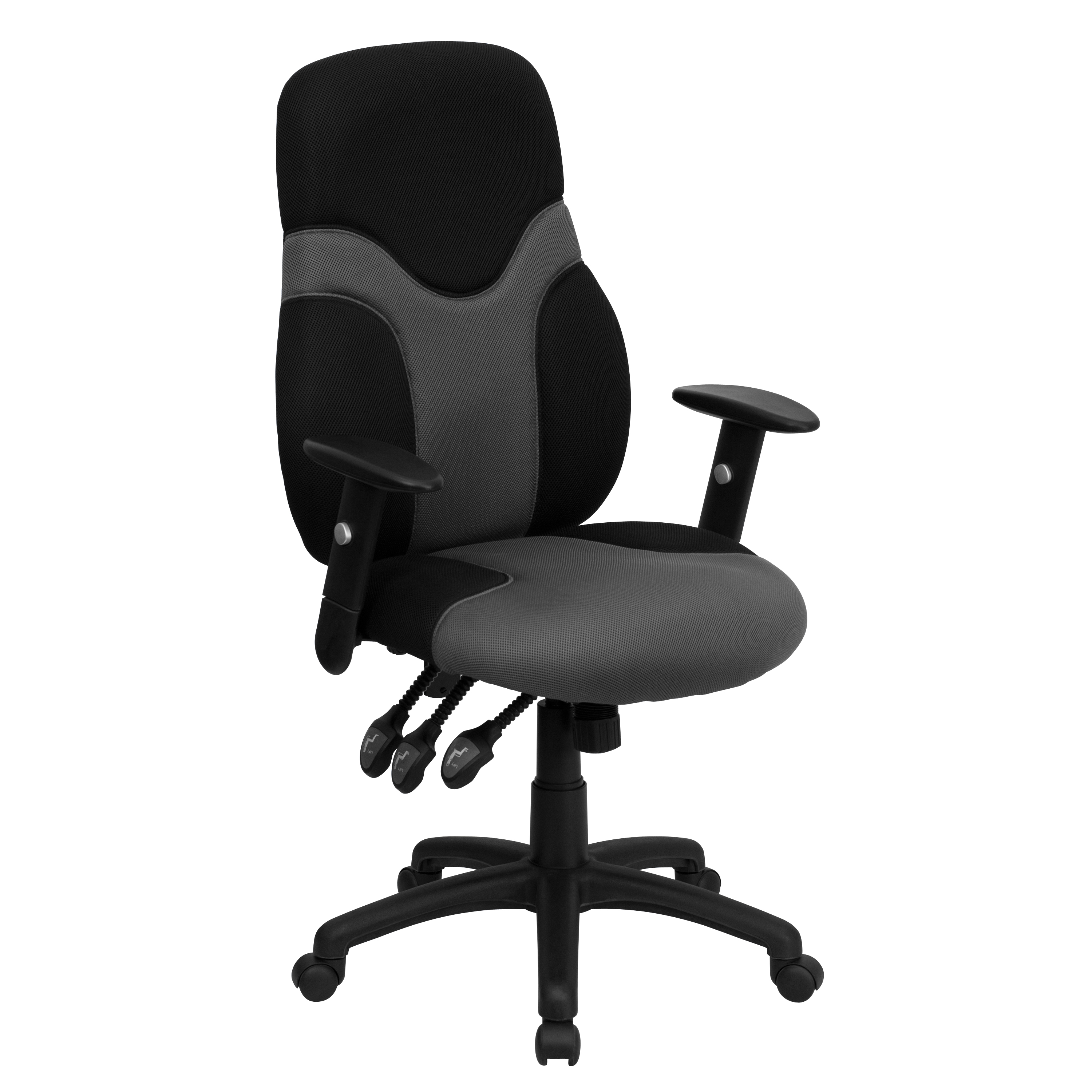 Flash Furniture High Back Ergonomic Black And Gray Mesh Swivel Task Office Chair With Adjustable Arms Walmart Com