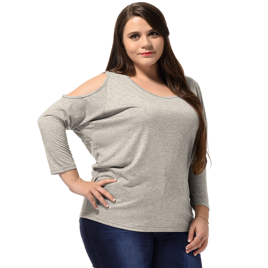 Agnes Orinda Light Gray 2X Scoop Neck Fashional Loose Top for Lady Plus Size