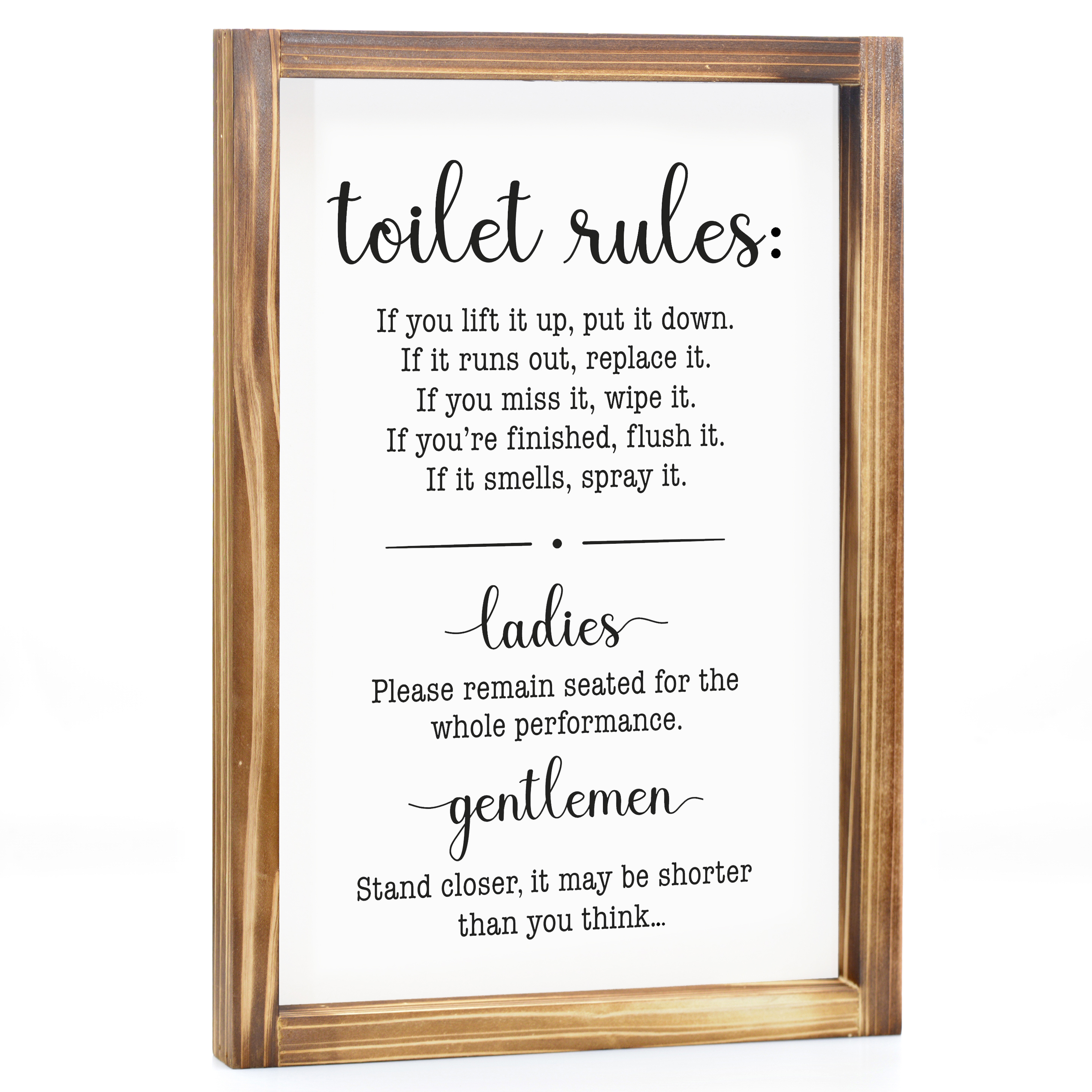 Toilet Rules Sign Funny Farmhouse Decor Sign Cute Guest Bathroom Decor Wall Art Rustic Home Decor Modern Farmhouse Sign For Bathroom Wall With Funny Quotes 11x16 Inch Walmart Com Walmart Com