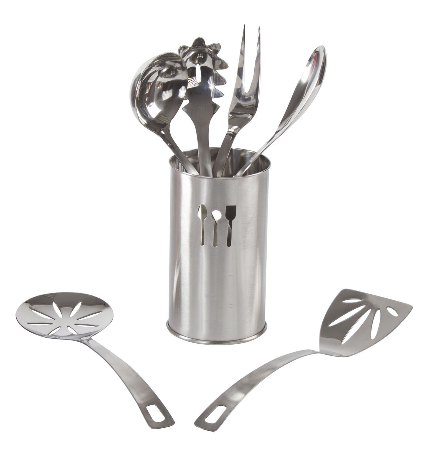 Home Kitchen Utensils – 7 Pc Stainless Steel Cooking Utensil Set & Holder