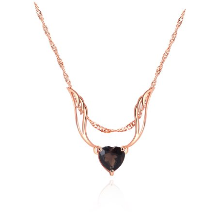 18K Rose-Gold Plating & Genuine Smokey Topaz Guardian Angel Heart Necklace