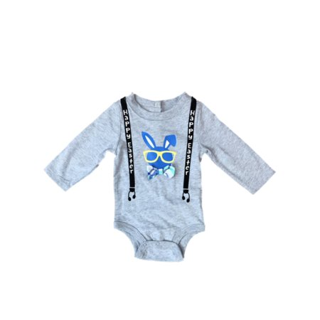 Infant Boys First Easter Bodysuit Baby Outfit Gray Bunny Rabbit Creeper 0-3m - Easter Bunny Baby Outfit