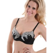 Rhinestone Sparkly Bra Womens Black Bra with Clear Beads and Silver Sequins