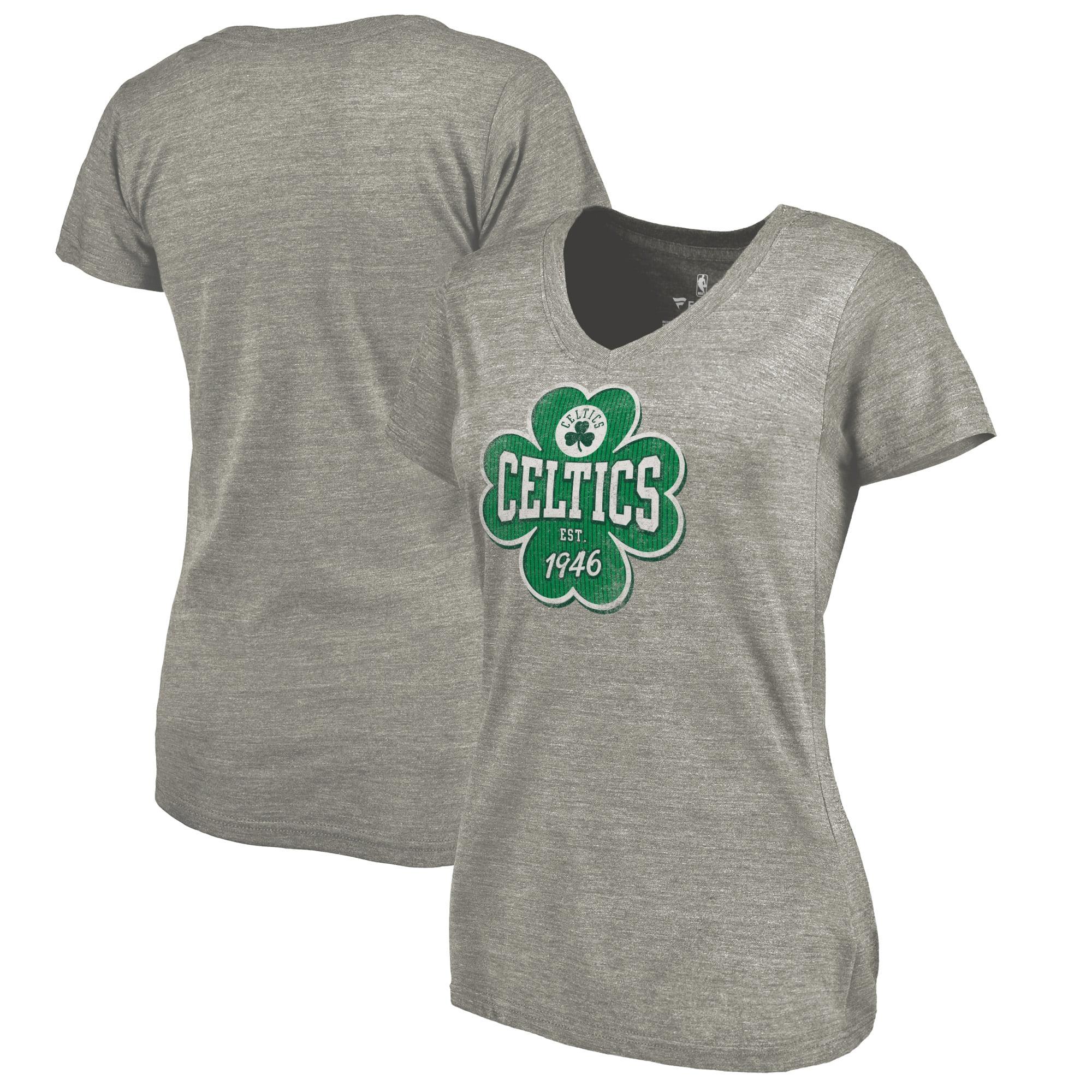 Boston Celtics Fanatics Branded Women's St. Patrick's Day Emerald Isle V-Neck Tri-Blend T-Shirt - Heathered Gray