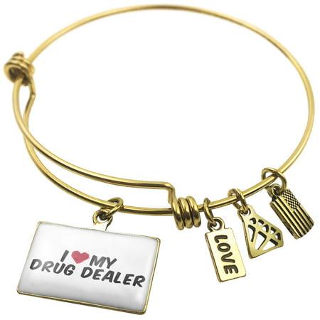 Expandable Wire Bangle Bracelet I Heart Love My Drug Dealer   Neonblond