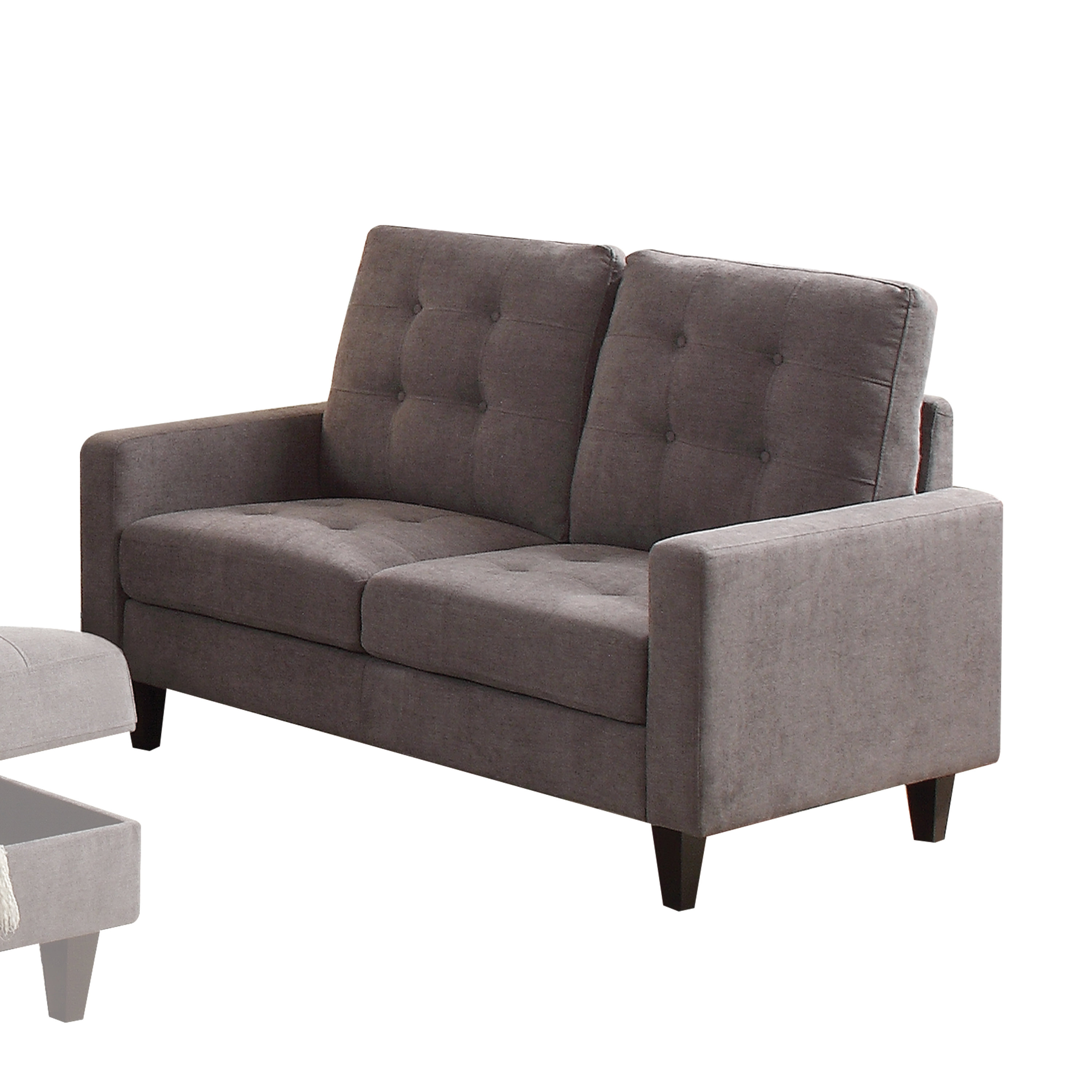 Acme Nate Memory Foam Loveseat with Tufting in Gray Fabric