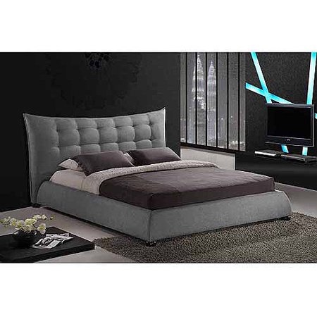 Baxton Studio Marguerite Linen King Modern Platform Bed with Headboard, Gray