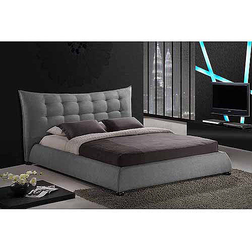 Exceptional Baxton Studio Marguerite Linen King Modern Platform Bed With Headboard, Gray