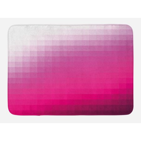 Hot Pink Bath Mat, Modern Art Mosaic Tiles Gradually Ombre Inspired Squares Image, Non-Slip Plush Mat Bathroom Kitchen Laundry Room Decor, 29.5 X 17.5 Inches, Hot Pink Dark Purple White, Ambesonne