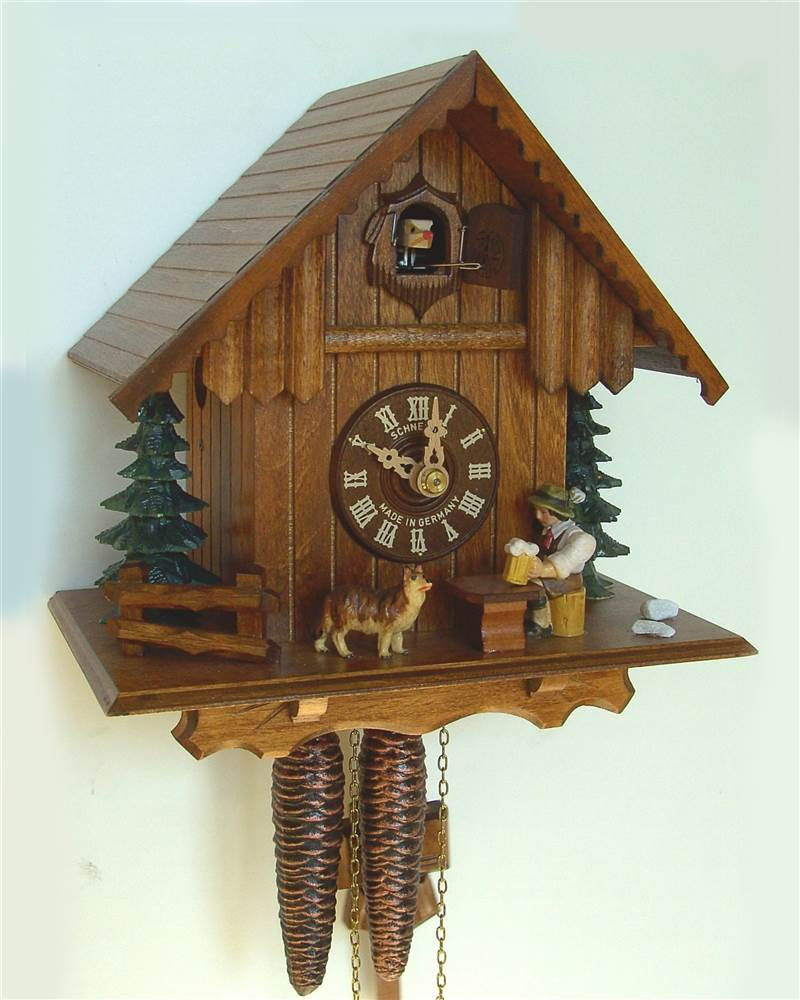 1-Day 8.6 in. Wooden Cuckoo Clock in Antique Finish by Schneider Cuckoo Clocks