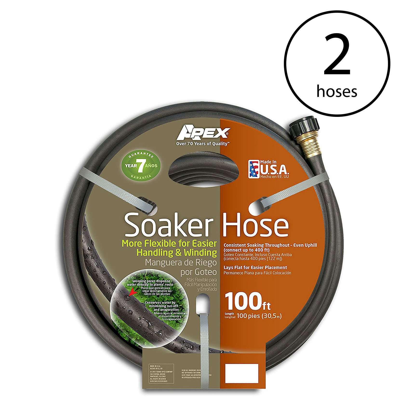 Apex 100' Long Flexible Water Conservation Garden Soil Soaker Hose (2 Pack)
