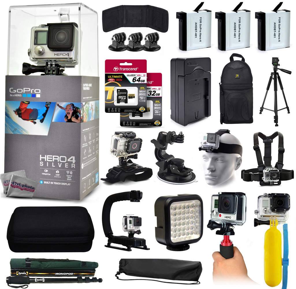 GoPro Hero 4 HERO4 Silver CHDHY-401 with 96GB Memory + 3x Batteries + Travel Charger + Backpack + 60? Tripod + Head/Chest Strap + Suction Cup + Hand Glove + LED Light + Stabilizer + Case + More! GPH4SNEW96GBK14