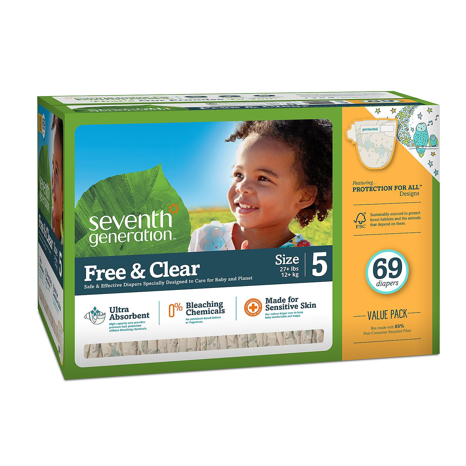 Seventh Generation Free & Clear Baby Diapers Size Size 5 - 69 ct. - Bulk Qty, Free Shipping - Comfortable, Soft, No leaking & Good nite Diapers