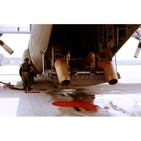 Fire Retardant Canvas (Canvas Print A C-130 Hercules gets a fresh charge of Phos-Chek fire retardant at the Channel Island Air National Stretched Canvas 10 x 14 )
