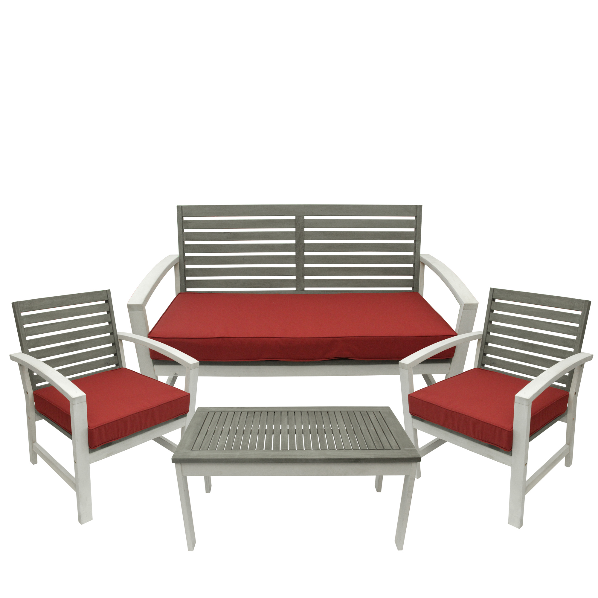 4-Piece Gray and White Acacia Wood Outdoor Patio Table and Chair Furniture Set - Red Cushions