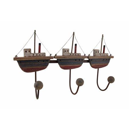 Wood and metal fishing boats 3 hook wall rack for Walmart fishing boats