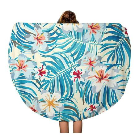 NUDECOR 60 inch Round Beach Towel Blanket Summer Hawaiian Pattern Leaf Plant Tropical Flower Hawaii Aloha Travel Circle Circular Towels Mat Tapestry Beach Throw - image 2 de 2