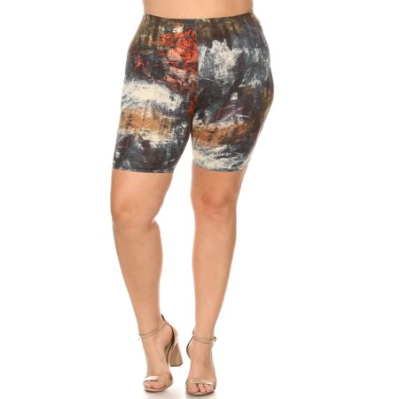 Women's Plus Size Workout High Waist Stretch Active Yoga Print Biker Shorts Pants Made in USA