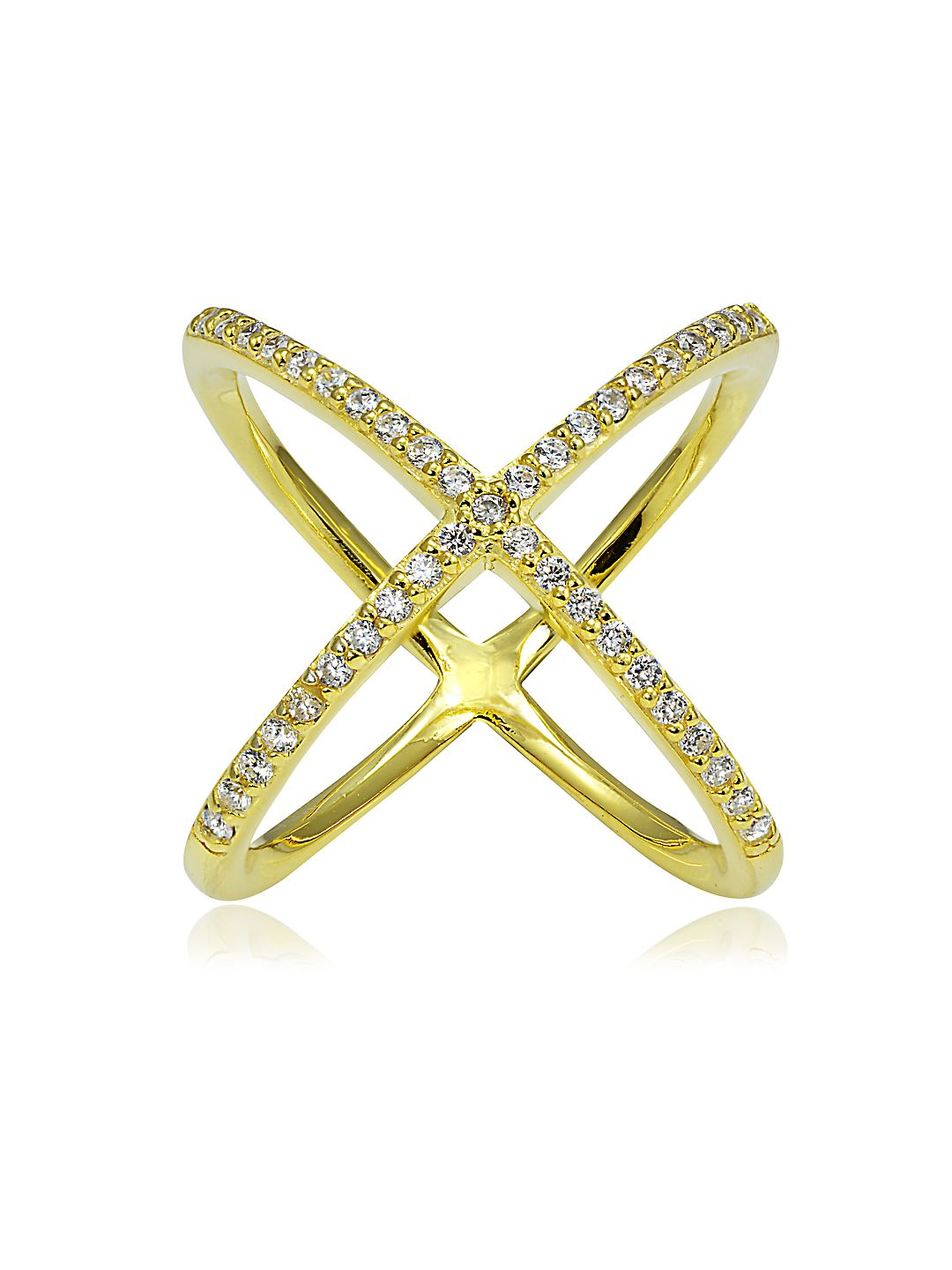 Saturn Cubic Zirconia and 18K Goldplated Sterling Silver Studded Crisscross Ring