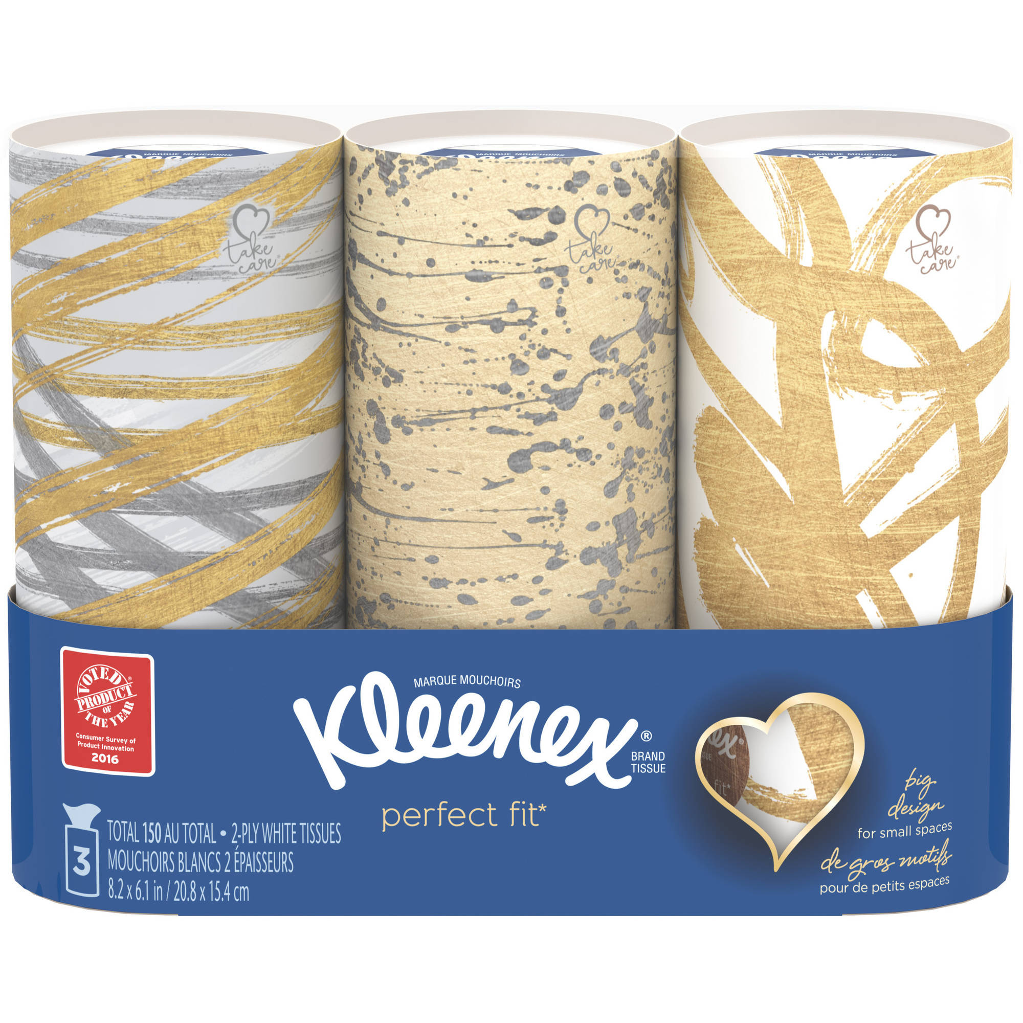 Kleenex Perfect Fit Facial Tissues, 50 Tissues per Canister, 3 Pack