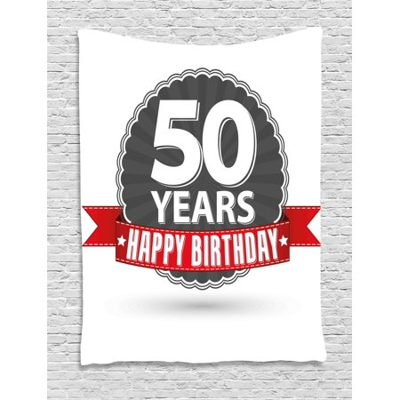 50th Birthday Decorations Tapestry Retro Label Red Ribbon Classical Old Fashioned Celebratory Wall Hanging