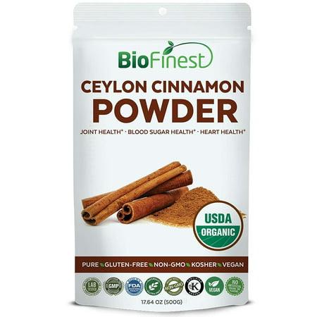 - Biofinest Ceylon Cinnamon Powder - USDA Certified Organic Pure Gluten-Free Non-GMO Kosher Vegan Friendly - Supplement for Heart Health, Joint Support, Healthy Blood Sugar Level (500g)