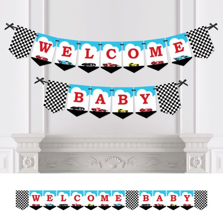 Let's Go Racing - Racecar - Baby Shower Bunting Banner - Race Car Party Decorations - Welcome Baby for $<!---->