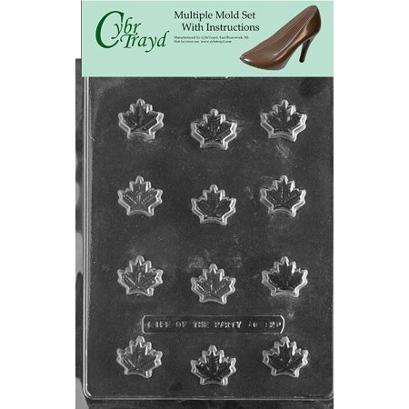 Maple Leaf Chocolate Candy Mold with Exclusive Cybrtrayd Copyrighted Molding Instructions, Pack of 3 - Bacon Maple Cupcakes