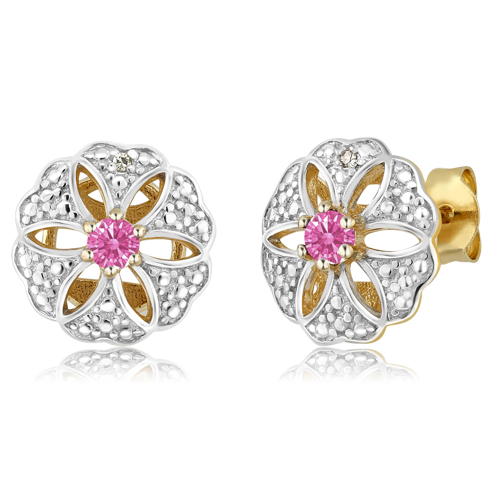 0.22 Ct Pink 925 Yellow Gold Plated Silver Earrings Made With Swarovski Zirconia