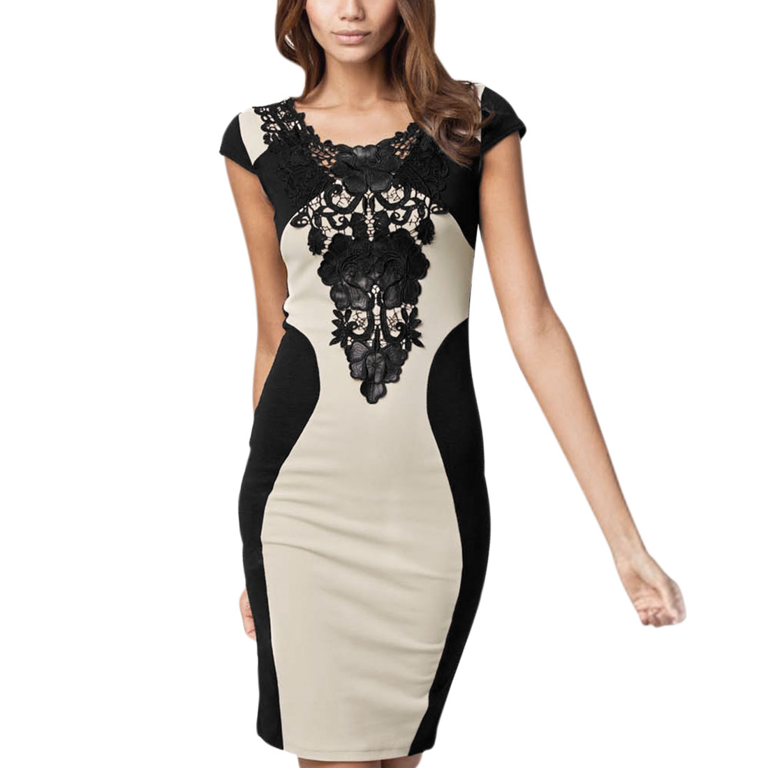 Woman's Crochet Embellished Short Sleeve Round Neck Pencil Dress Apricot Black M