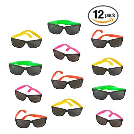 Sunglasses Favors Bulk (12 Pack 80's Style Neon Party Sunglasses - Fun Gift, Party Favors, Party Toys, Goody Bag)