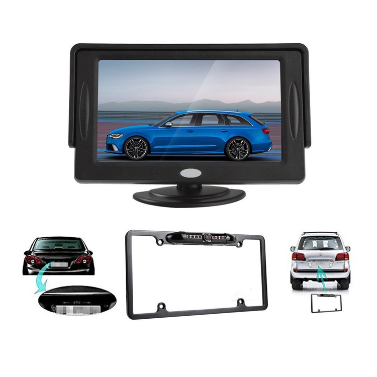 "4.3"" LCD Car Rear View Backup Monitor + Car Rear View Camera with U.S license plate frame"