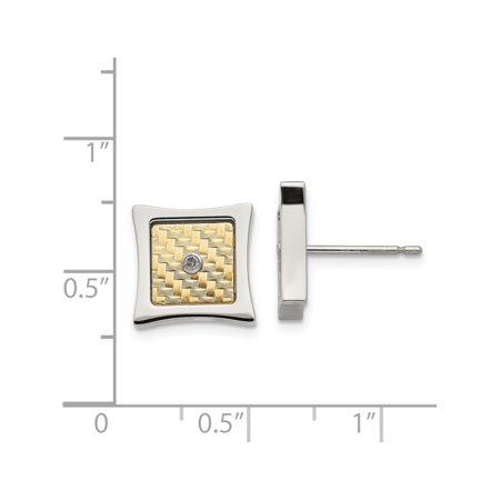 Stainless Steel w/ 18k gold accent .03ct Diamond Square Post Earrings - image 2 of 3
