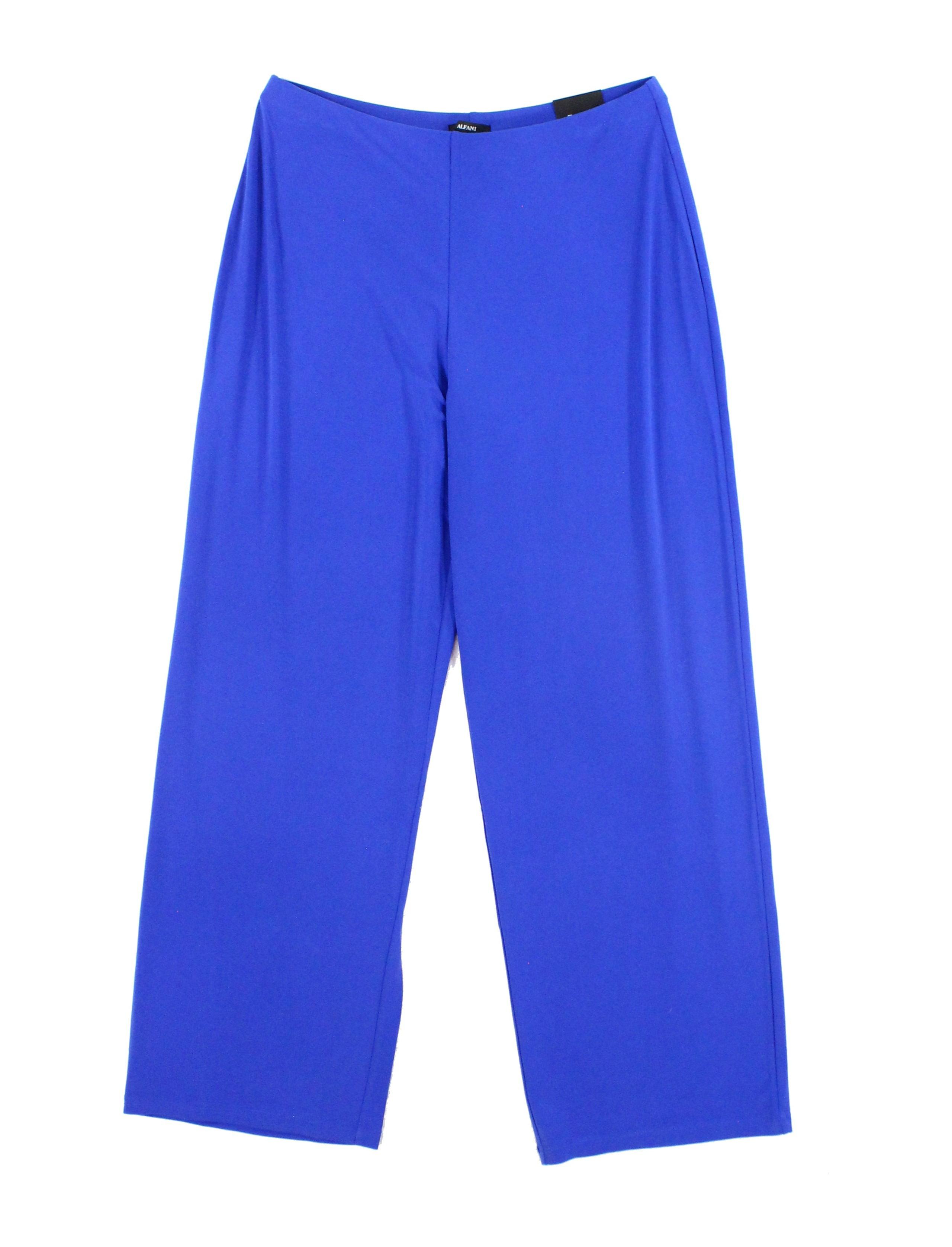 Alfani NEW Blue Womens Size Medium M Stretch Wide-Leg Jersey-Knit Pants