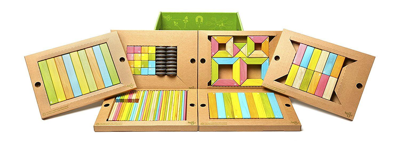 130 Piece Tegu Classroom Magnetic Wooden Block Set, Tints by Tegu