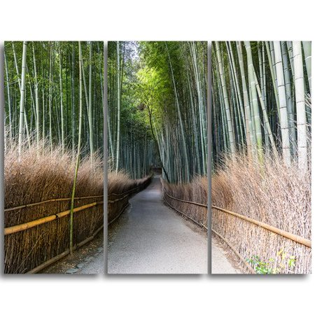 Design Art Straight Path In Bamboo Forest   3 Piece Graphic Art On Wrapped Canvas Set